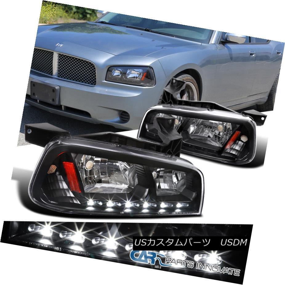 ヘッドライト 2006-2010 Dodge Charger Black SMD LED DRL 1PC Headlights Corner Signal Lamps 2006-2010 Dodge ChargerブラックSMD LED DRL 1PCヘッドライトコーナー信号ランプ
