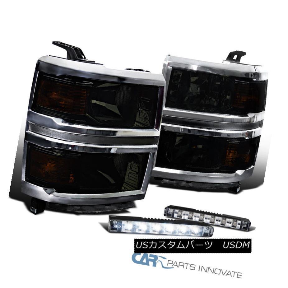 ヘッドライト Chevy 14-15 Silverado 1500 Pickup Smoke Lens Headlights+Slim 6-LED Fog Lights シェビー14-15 Silverado 1500ピックアップスモークレンズヘッドライト+スリ m 6-LEDフォグライト