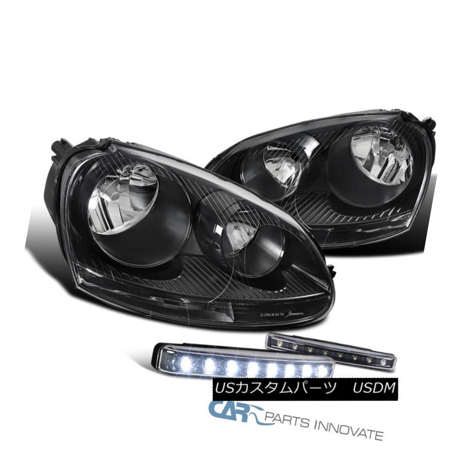 ヘッドライト For VW 05-10 Golf Mk5 Jetta Rabbit Black Headlights+6000K 8-LED DRL Fog Lamps VW 05-10ゴルフMk5ジェッタラビットブラックヘッドライト+ 600  0K 8-LED DRLフォグランプ