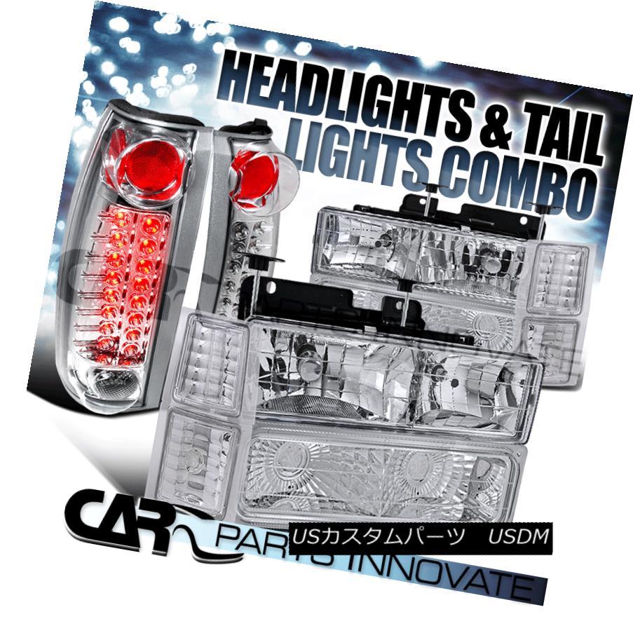 ヘッドライト 94-99 Chevy C10 C/K Suburban Clear Headlights+Bumper Corner+Chrome LED Tail Lamp 94-99 Chevy C10 C / K郊外クリアヘッドライト+ Bum  /コーナー+クロームLEDテールランプ