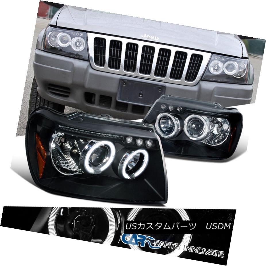ヘッドライト 1999-2004 Jeep Grand Cherokee Black LED Halo Projector Headlights Driving Lamps 1999-2004ジープグランドチェロキーブラックLEDハロープロジェクターヘッドライトドライビングランプ