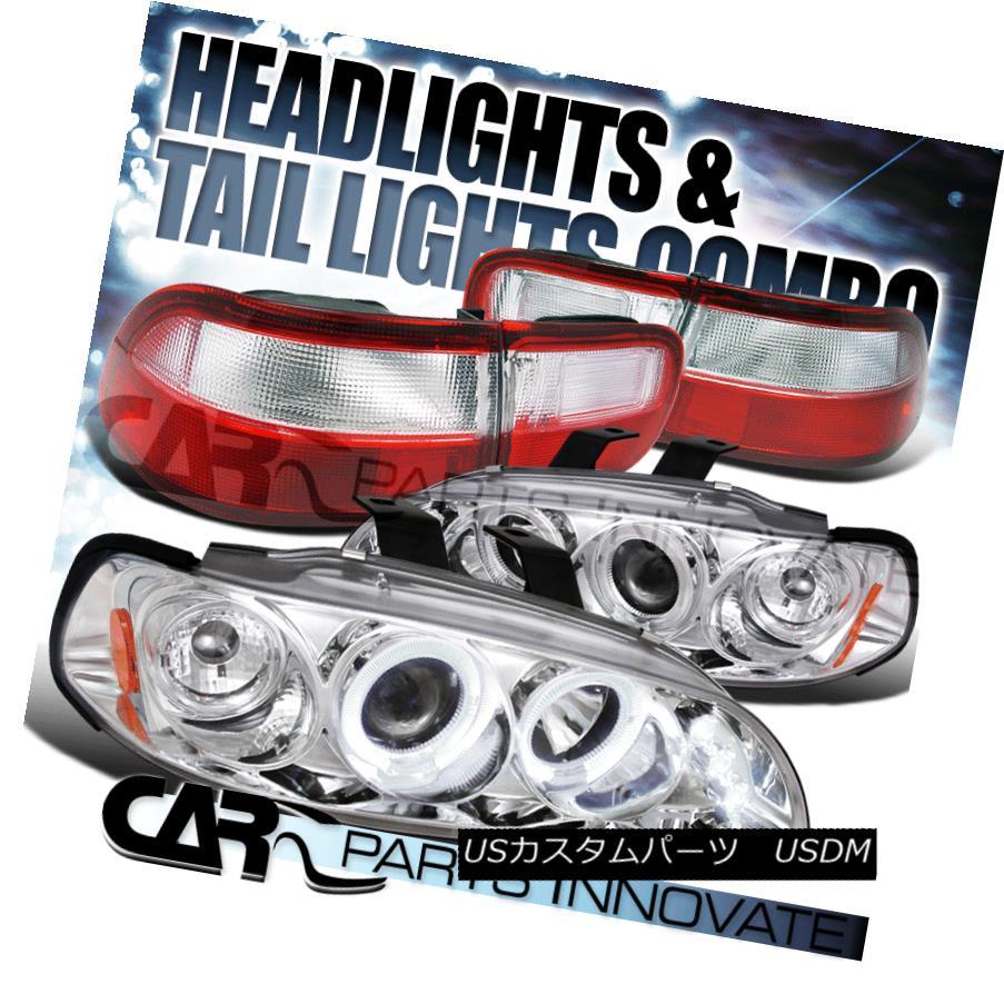 ヘッドライト For 92-95 Civic 2/4Dr Chrome Halo LED Projector Headlights+Red Clear Tail Lamp 92-95シビック2 / 4DrクロームハローLEDプロジェクターヘッドライト+レッドクリアテールランプ用