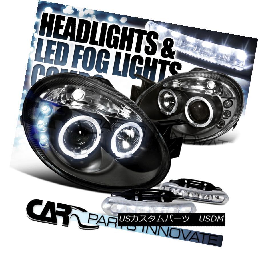 ヘッドライト Dodge 03-05 Neon SRT4 Black Halo Projector Headlights+6-LED Fog Lamps ドッジ03-05ネオンSRT4ブラックハロープロジェクターヘッドライト+ 6-L  EDフォグランプ