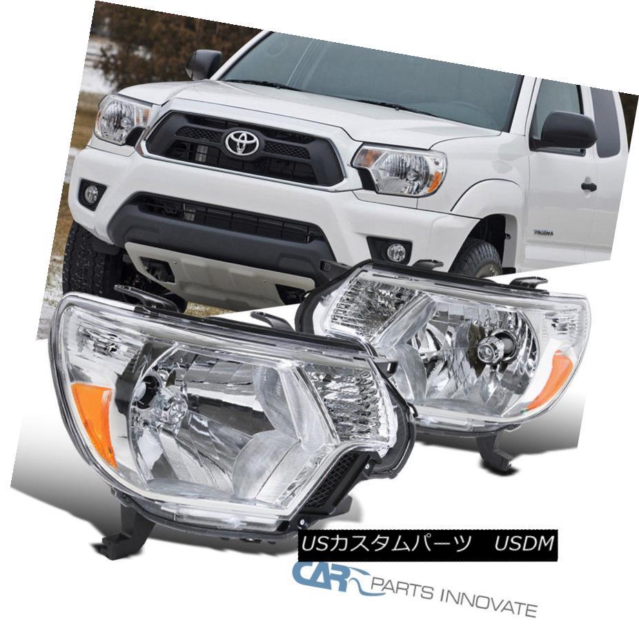 ヘッドライト For Toyota 12-15 Tacoma Replacement Clear Headlights Headlamps Pickup Left+Right トヨタ用12-15タコマ交換用クリアヘッドライトヘッドランプ用ピックアップ左+右