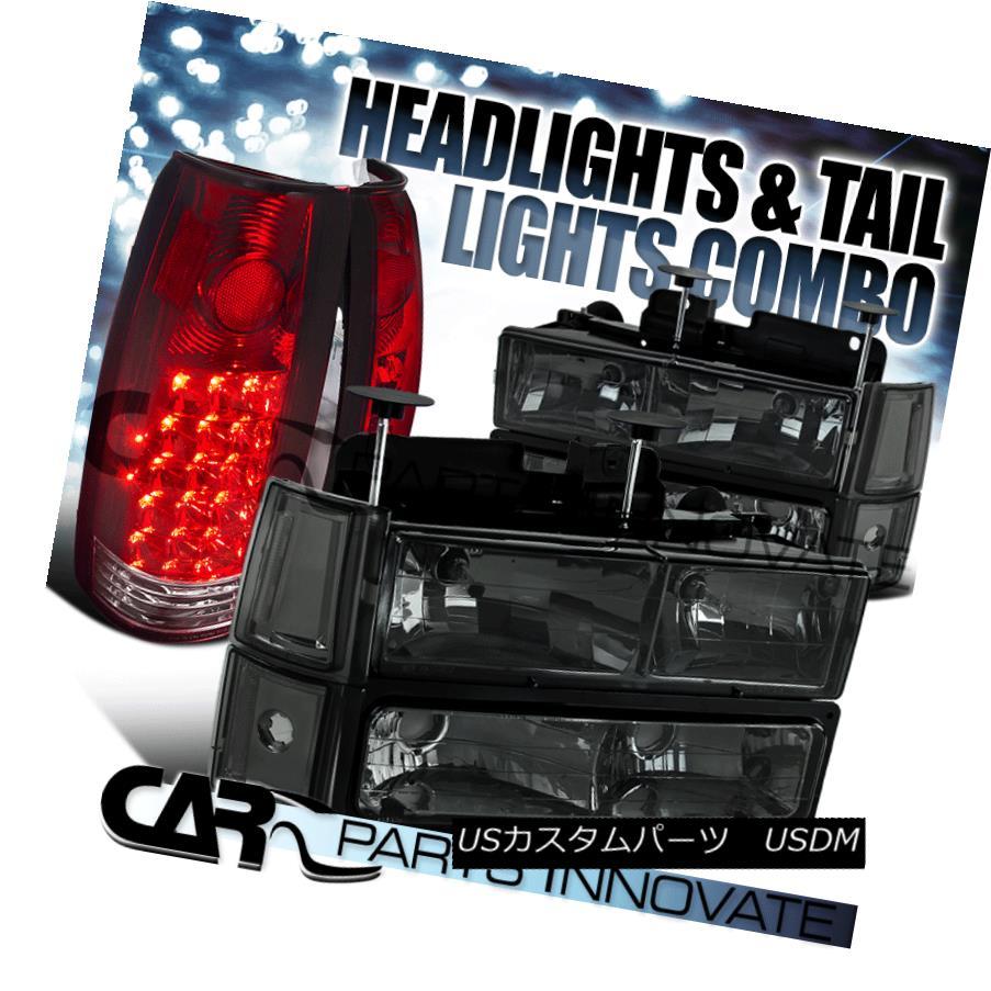 ヘッドライト 94-98 GMC C10 Sierra Smoke Headlights+Bumper Corner Lamps+Red LED Tail Lamps 94-98 GMC C10シエラ・スモーク・ヘッドライト+ Bum  /コーナーランプ+レッドLEDテールランプ