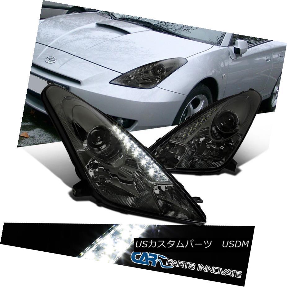 ヘッドライト For 00-05 Toyota Celica Smoke LED DRL Projector Headlights Driving Head Lamps 00-05用トヨタCelica煙LED DRLプロジェクターヘッドライト駆動ヘッドランプ