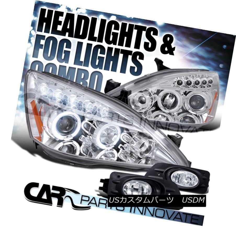 ヘッドライト For 06-07 Accord 4Dr Clear Halo LED Projector Headlights+Clear Fog Bumper Lamps 06-07 Accord 4Dr Clear Halo LEDプロジェクターヘッドライト+ Cle  ar Fogバンパーランプ