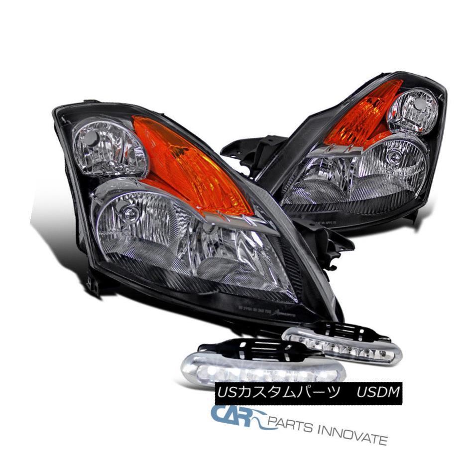 ヘッドライト For 2007-2009 Nissan Altima JDM Black Headlights Head Lamps+LED Fog Bumper DRL 日産アルティマJDMブラックヘッドライトヘッドランプ+ LEDフォグバンパーDRL