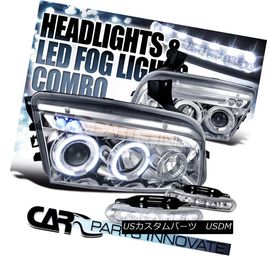 ヘッドライト 06-10 Dodge Charger Chrome Clear Halo Projector Headlights+6-LED Fog Lamps 06-10ダッジチャージャークロームクリアハロープロジェクターヘッドライト+ 6-L  EDフォグランプ
