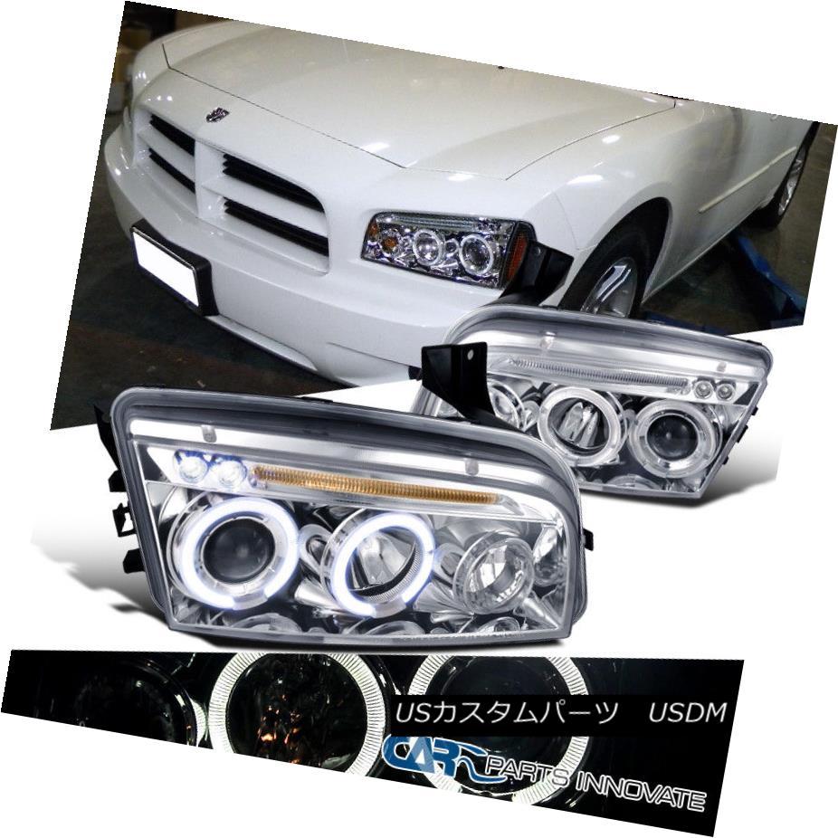 ヘッドライト Dodge 2006-2010 Charger LED Halo Projector Headlights Lamps Chrome Clear Pair ドッジ2006-2010充電器LEDハロープロジェクターヘッドライトランプクロームクリアペア