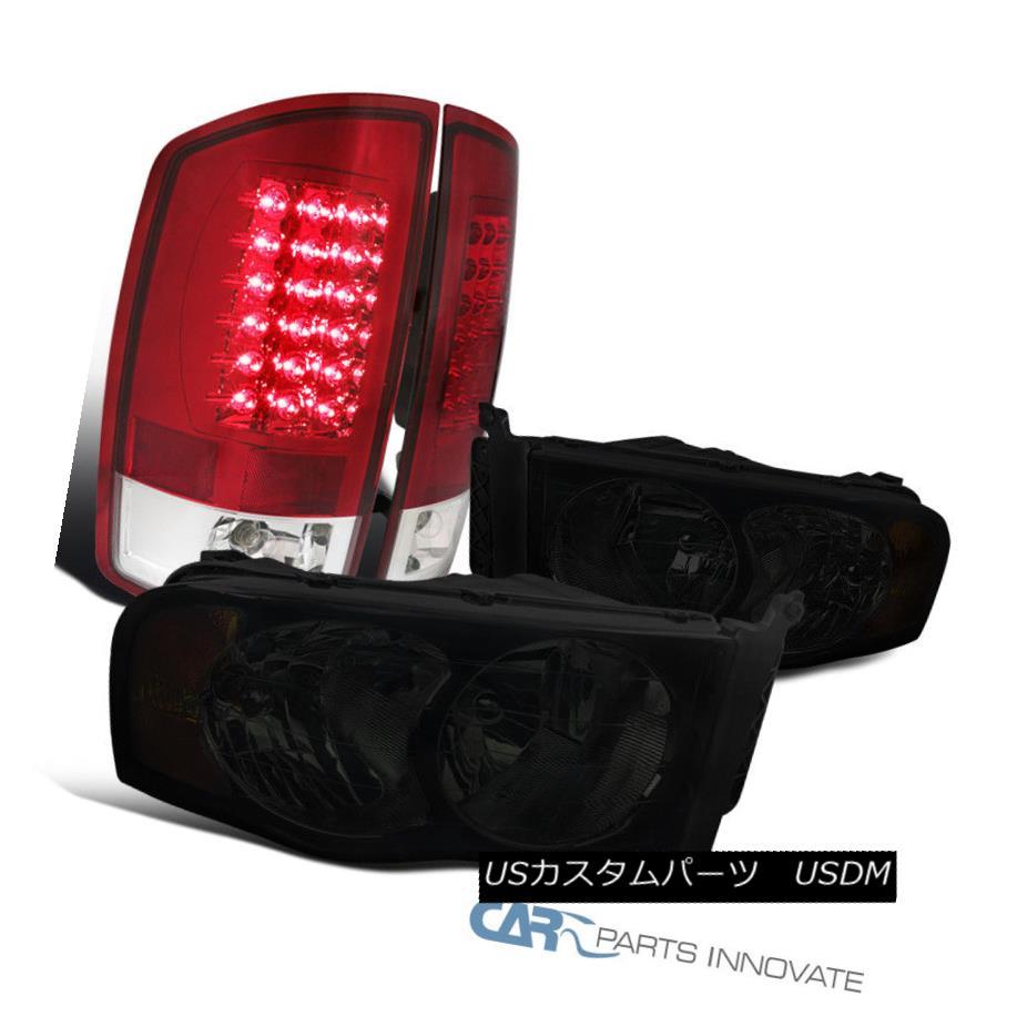 ヘッドライト 02-05 Dodge Ram 1500 2500 3500 Smoke Lens Headlights+Red LED Tail Brake Lamps 02-05 Dodge Ram 1500 2500 3500スモークレンズヘッドライト+レッドLEDテールブレーキランプ