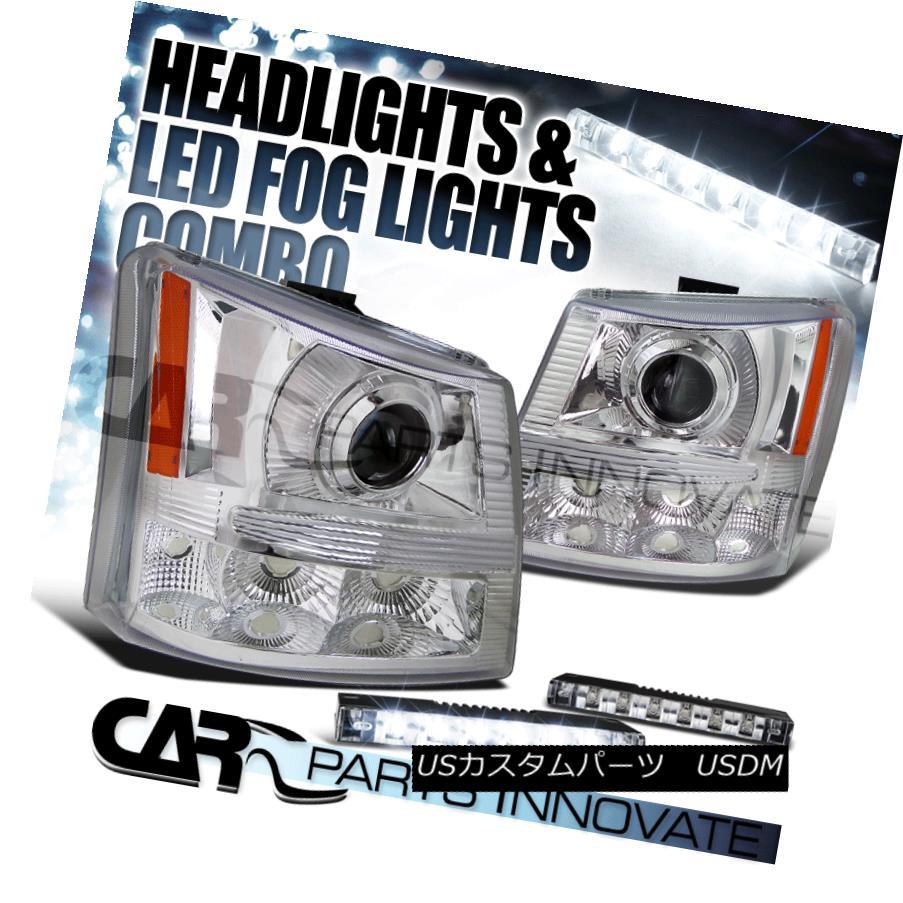 ヘッドライト 03-07 Silverado Avalanche 2in1 Chrome Projector Head Bumper Lights+LED Fog DRL 03-07 Silverado Avalanche 2in1 Chromeプロジェクターヘッドバンパーライト+ LEDフォグDRL