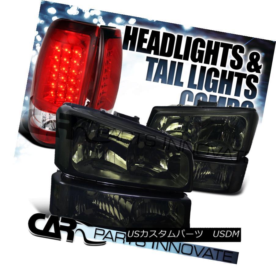 ヘッドライト 03-07 Chevy Silverado Smoke Headlights+Bumper Lamps+Red LED Rear Tail Lights 03-07 Chevy Silveradoヘッドライト+バーン 、ランプごと+レッドLEDリアテールライト