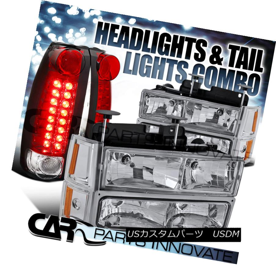 ヘッドライト 1994-1998 GMC C/K 1500 Chrome Headlights+Bumper Corner Lamps+Red LED Tail Lamps 1994-1998 GMC C / K 1500クロームヘッドライト+ Bum 、コーナーランプ+レッドLEDテールランプ