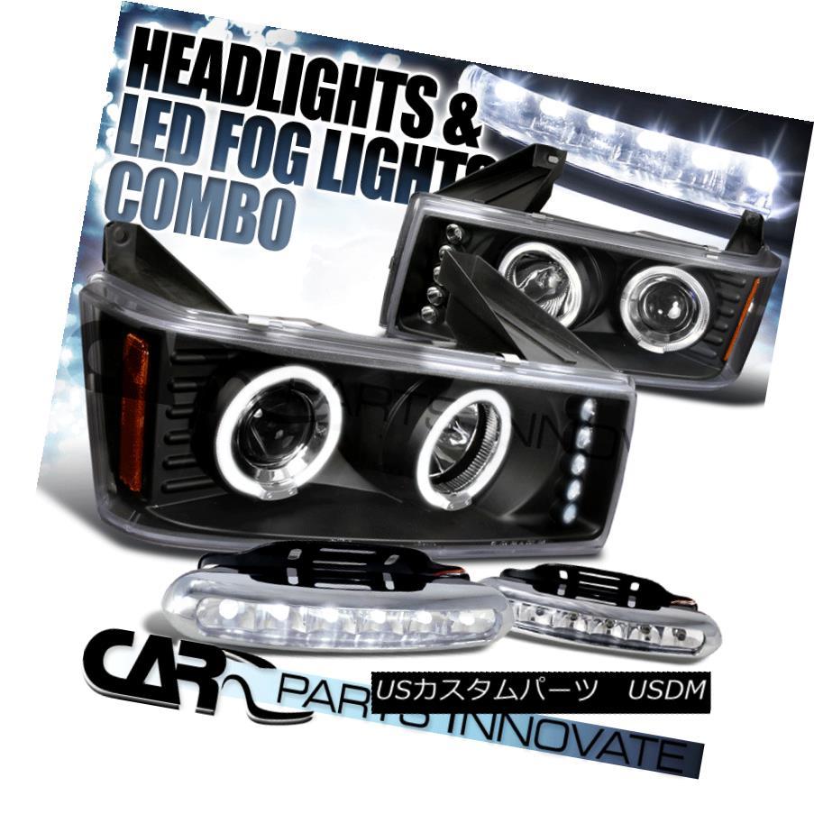 ヘッドライト 04-12 Colorado Canyon Black Halo LED Projector Headlights+LED Fog Bumper DRL 04-12コロラドキャニオンブラックハローLEDプロジェクターヘッドライト+ LEDフォグバンパーDRL