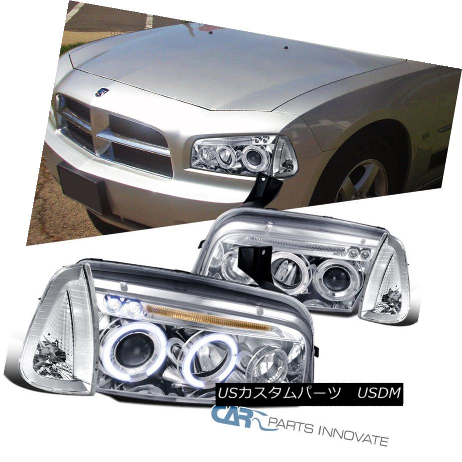 ヘッドライト 06-10 Dodge Charger Pickup Chrome Halo Projector Headlights+Corner Parking Lamps 06-10ダッジチャージャーピックアップクロームハロープロジェクターヘッドライト+ Cor  nerパーキングランプ