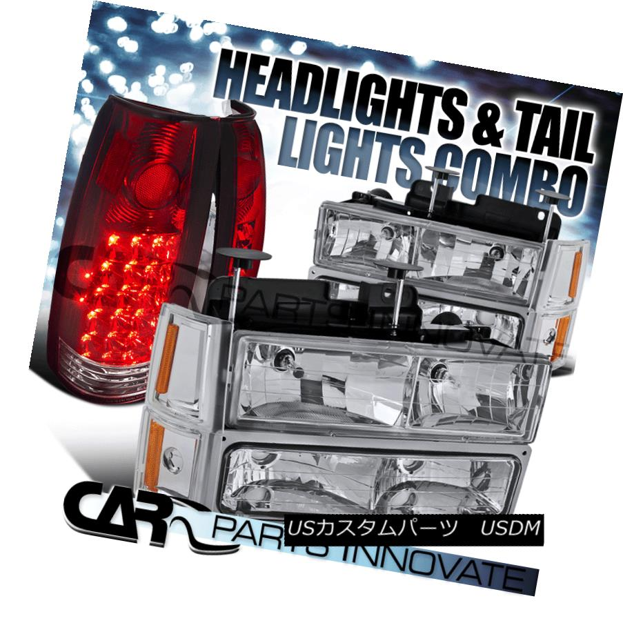 ヘッドライト 1994-1998 GMC C10 1500 Chrome Headlights+Bumper Corner Lamps+Red LED Tail Lamps 1994-1998 GMC C10 1500クロームヘッドライト+ Bum  /コーナーランプ+レッドLEDテールランプ