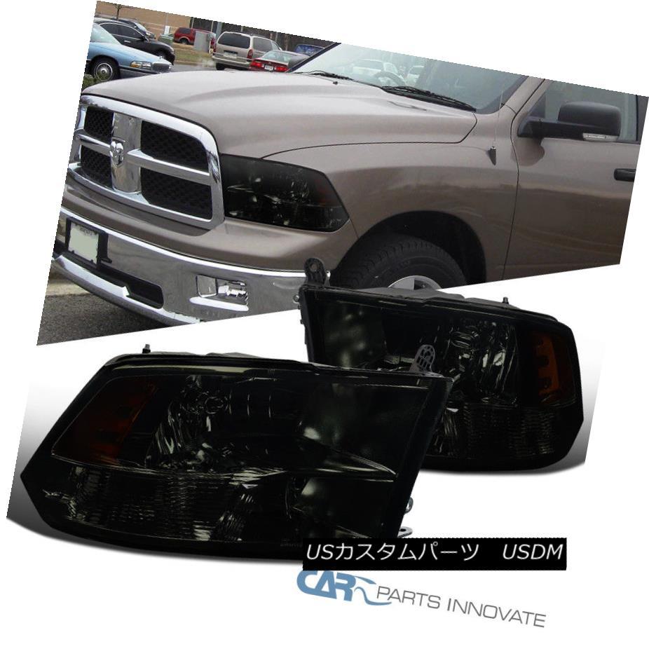 ヘッドライト 09-17 Dodge Ram 1500 2500 3500 Pickup Smoke Headlights Quad Style Head Lamps Set 09-17 Dodge Ram 1500 2500 3500ピックアップスモークヘッドライトクワッドスタイルヘッドランプセット