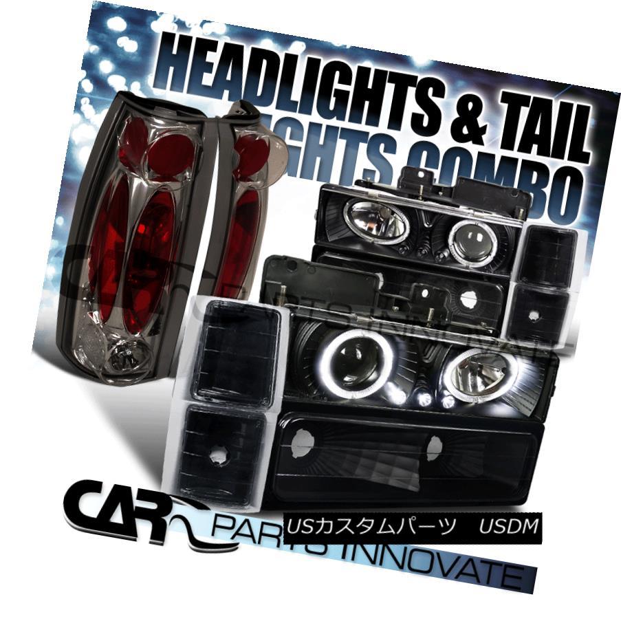 ヘッドライト 94-98 Chevy C10 C/K Tahoe Black Halo LED Projector Headlights+Smoke Tail Lamps 94-98シボレーC10 C / KタホブラックハローLEDプロジェクターヘッドライト+スモーキー keテールランプ