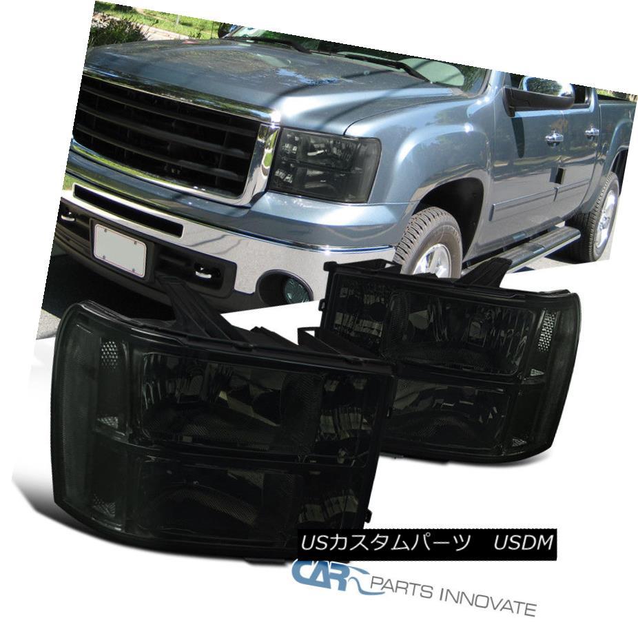 ヘッドライト 07-13 GMC Sierra Pickup Smoke Replacement Headlights Tinted Driving Head Lamps 07-13 GMC Sierraピックアップスモーク交換ヘッドライトティンテッドドライビングヘッドランプ