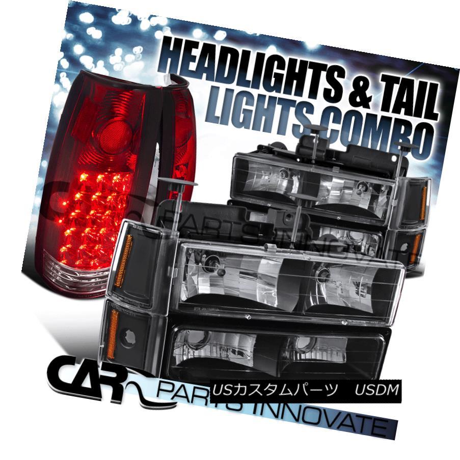 ヘッドライト 1994-1998 GMC C10 1500 Black Headlights+Bumper Corner Lamps+Red LED Tail Lamps 1994-1998 GMC C10 1500ブラックヘッドライト+ブール /コーナーランプ+レッドLEDテールランプ