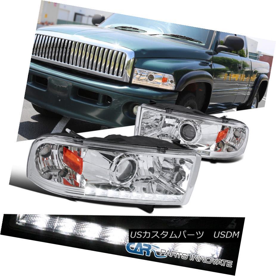 ヘッドライト Dodge 94-01 Ram 1500 94-02 Ram 2500 3500 Pickup Chrome LED Projector Headlights Dodge 94-01 Ram 1500 94-02 Ram 2500 3500ピックアップChrome LEDプロジェクターヘッドライト