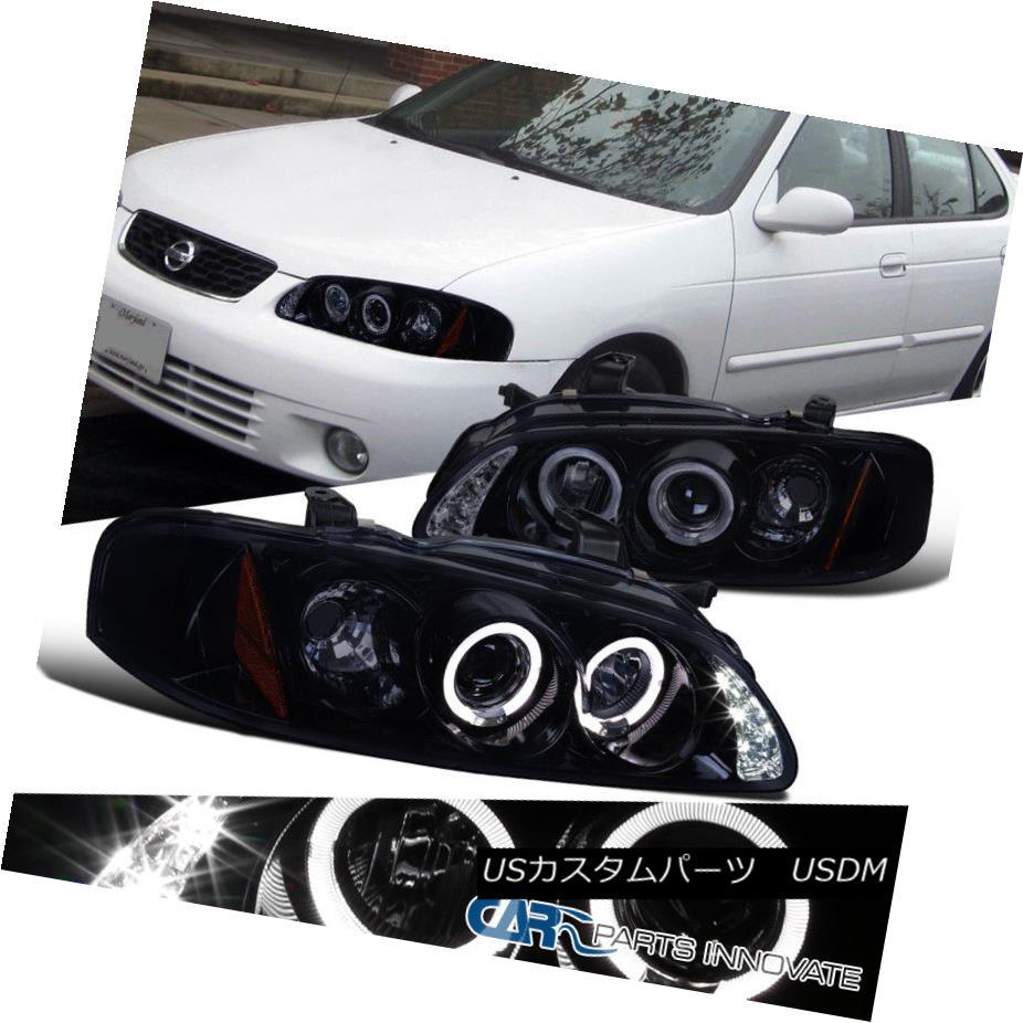 ヘッドライト Glossy Black For 00-03 Nissan Sentra Replacement Smoke LED Projector Headlights 00-03日産Sentra代替煙LEDプロジェクターヘッドライトのための光沢のある黒