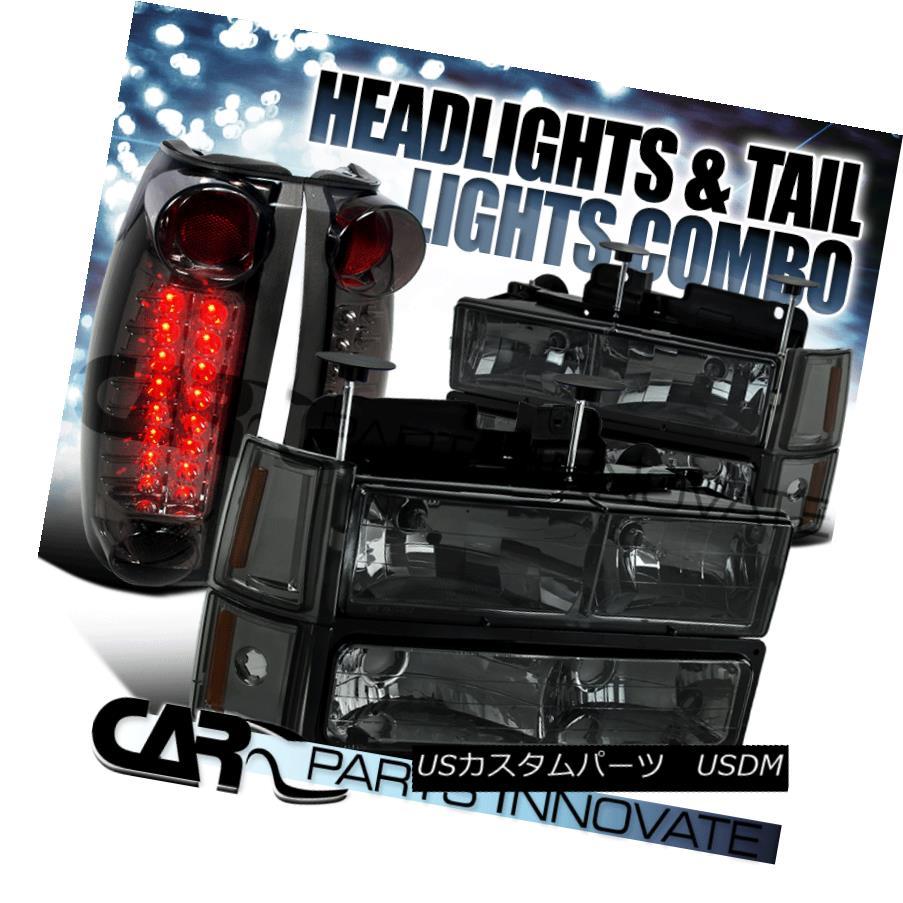 ヘッドライト 94-98 GMC C/K 1500 Smoke Crystal Headlights+Bumper Corner Lamps+LED Tail Lamps 94-98 GMC C / K 1500スモーククリスタルヘッドライト+ Bum  /コーナーランプ+ LEDテールランプ