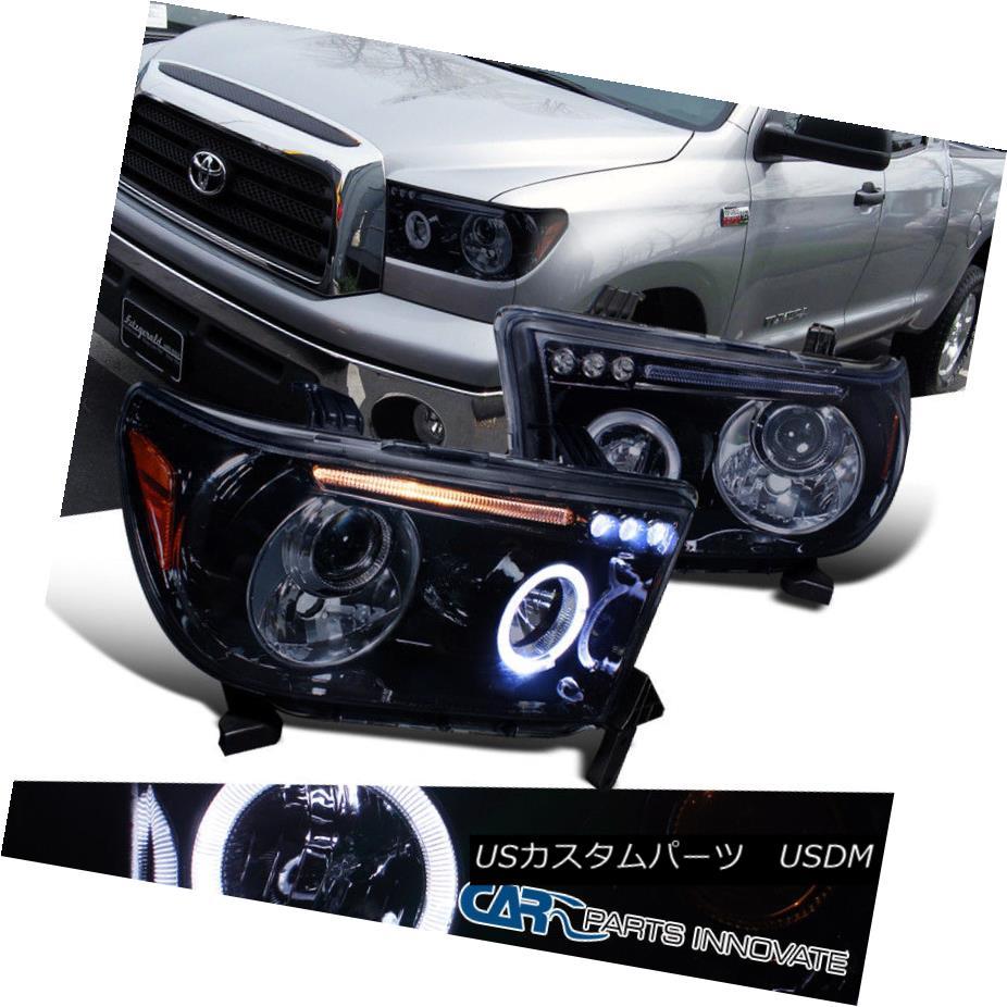 ヘッドライト Glossy Black For Toyota 07-13 Tundra Sequoia Tinted LED Projector Headlights トヨタ用グロスブラック07-13トンドラセコイアティンテッドLEDプロジェクターヘッドライト