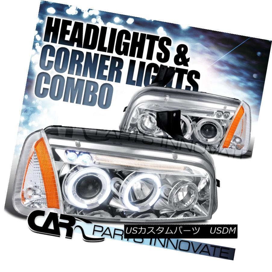 ヘッドライト 06-10 Charger Chrome Halo LED Projector Headlights+Corner Parking Lamps+Amber 06-10 Charger Chrome Halo LEDプロジェクターヘッドライト+ Cor  ner Parking Lamps + Amber