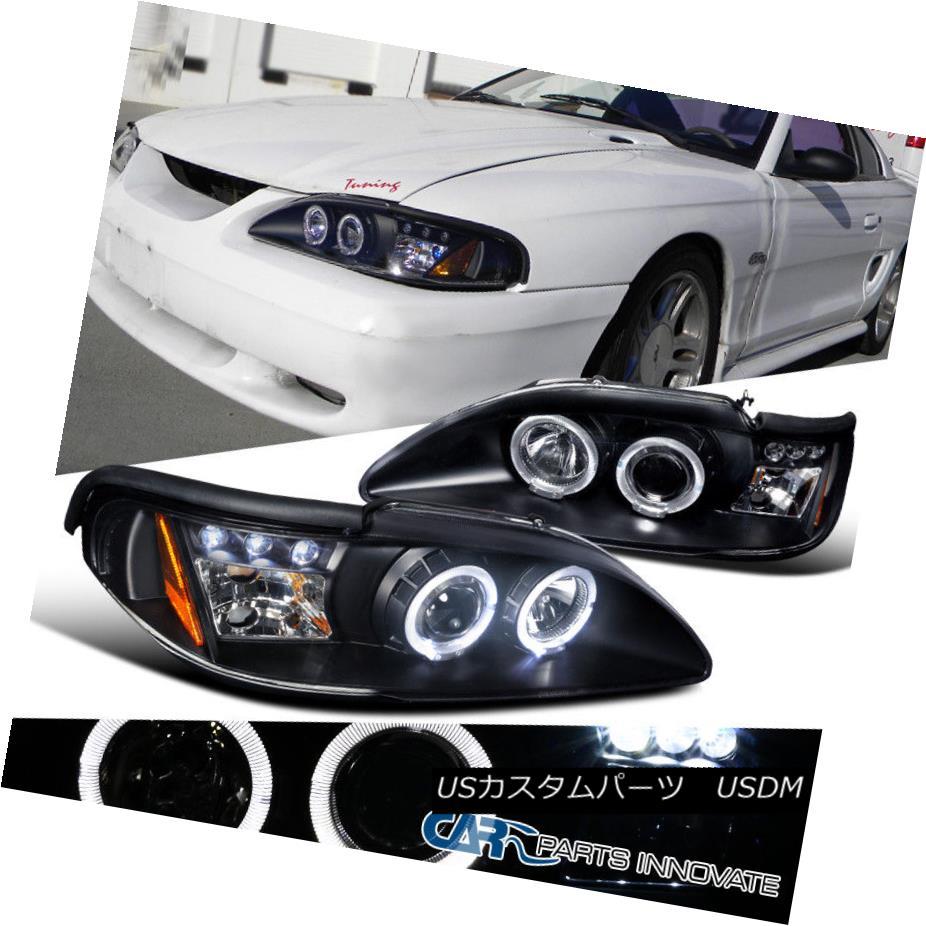 ヘッドライト Ford 94-98 Mustang Cobra GT LED Halo Projector Headlights Lamp Black フォード94-98マスタングコブラGT LEDハロープロジェクターヘッドライトランプブラック
