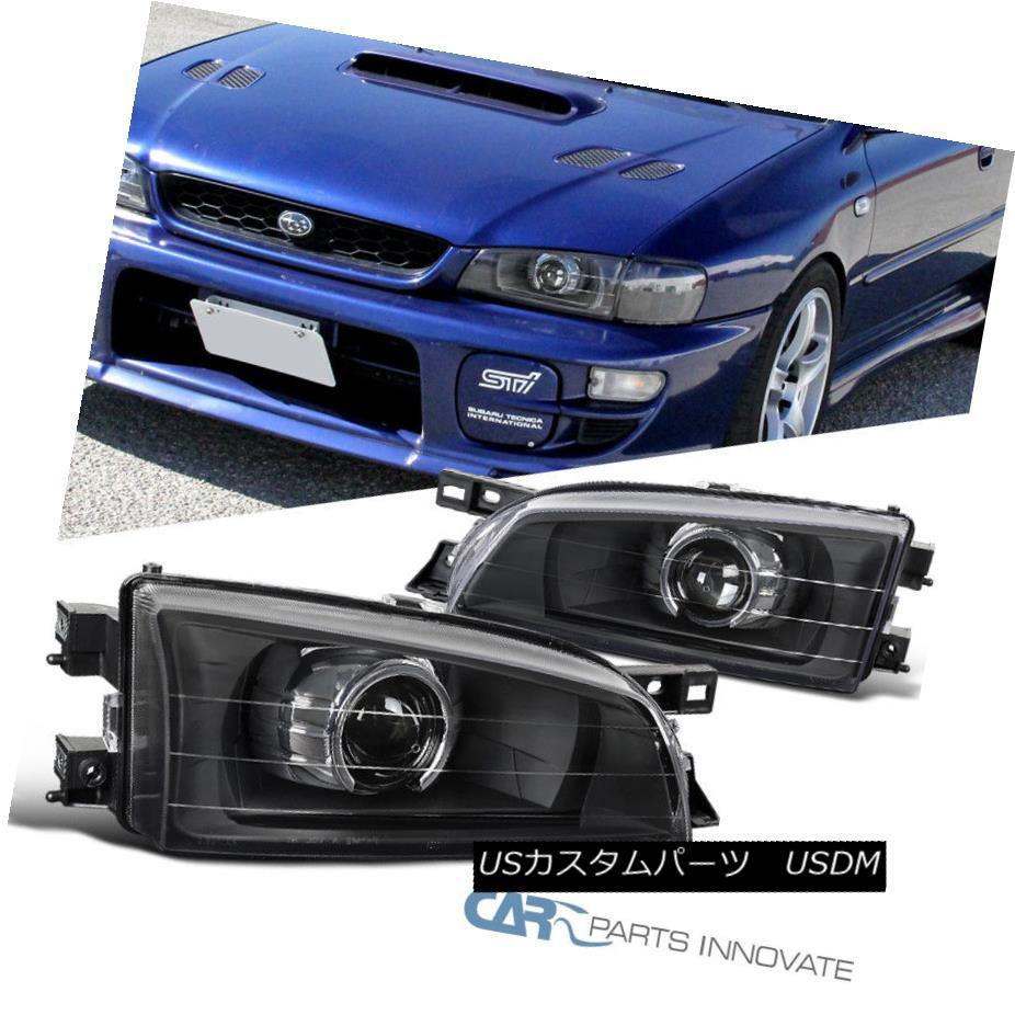 ヘッドライト For Subaru 95-01 Impreza WRX Retro Style Replacement Black Projector Headlights スバル95-01用インプレッサWRXレトロスタイルの交換用ブラックプロジェクターヘッドライト