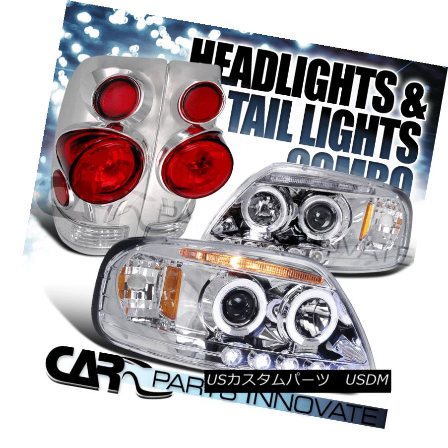 ヘッドライト 97-03 Ford F150 Chrome Halo LED Projector Headlights+3D Altezza Tail Lamps 97-03 Ford F150 Chrome Halo LEDプロジェクターヘッドライト+ 3D Altezzaテールランプ
