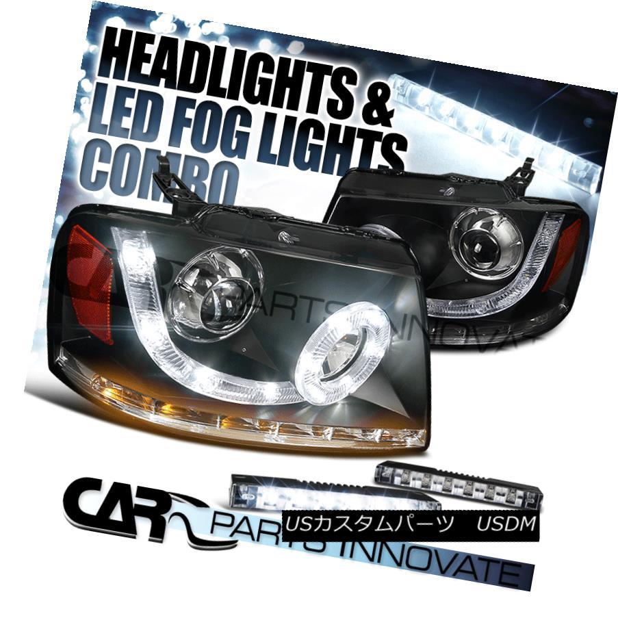 ヘッドライト 04-08 F150 06-08 Mark LT Black SMD Halo Projector Headlights+LED Signal+LED DRL 04-08 F150 06-08マークLTブラックSMDハロープロジェクターヘッドライト+ LED信号+ LED DRL