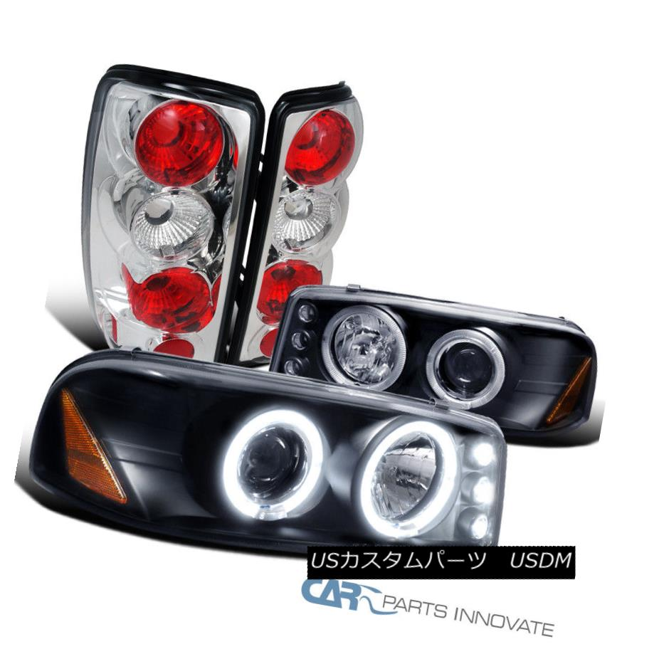 ヘッドライト 00-06 GMC Yukon Black Halo LED Projector Headlights+Clear Tail Lamps 00-06 GMC Yukon Black Halo LEDプロジェクターヘッドライト+ Cle  arテールランプ