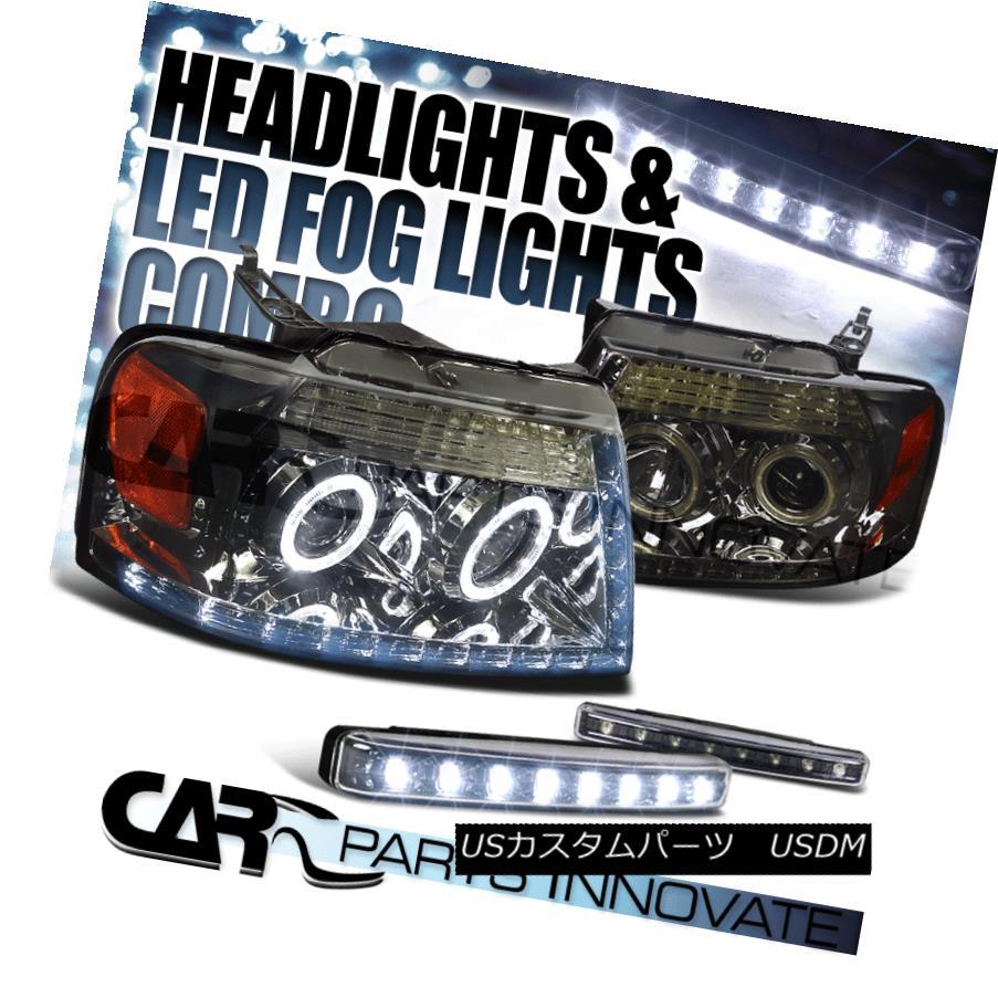 ヘッドライト Ford 04-08 F150 Pick Up Smoke Halo Projector LED Headlight+8-LED Bumper Fog Lamp フォード04-08 F150ピックアップスモークハロープロジェクターLEDヘッドライト+ 8-LE  Dバンパーフォグランプ