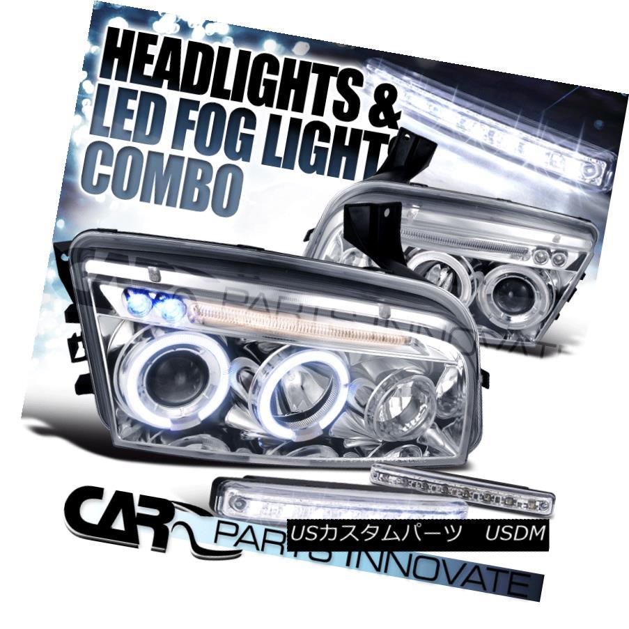 ヘッドライト 06-10 Dodge Charger Chrome Dual Halo Projector Headlights+8-LED Fog Lamps 06-10ダッジチャージャークロムデュアルハロープロジェクターヘッドライト+ 8-L  EDフォグランプ