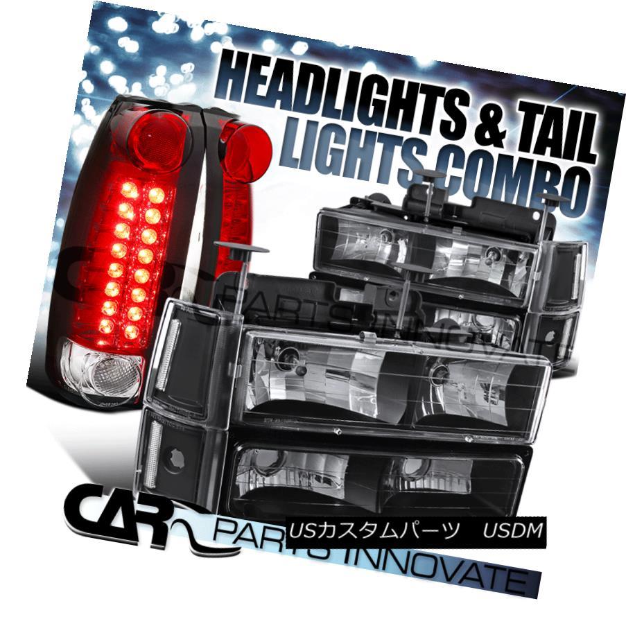 ヘッドライト 94-98 Sierra Black Clear Headlights+Bumper Corner Lamps+Rear Red LED Tail Lamps 94-98 Sierra Blackクリアヘッドライト+ Bum  /コーナーランプ+リアレッドLEDテールランプ