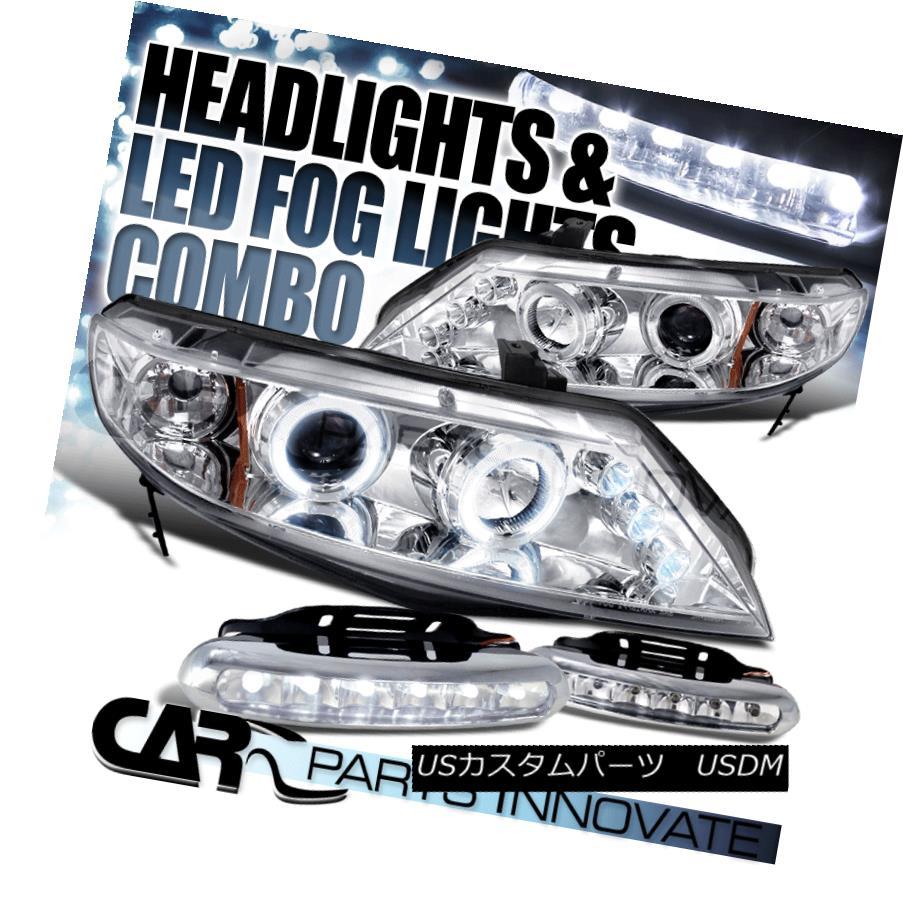 ヘッドライト Fit 06-11 Honda Civic 4Dr Chrome Halo LED Projector Headlights+6-LED Fog Lamps フィット06-11ホンダシビック4DrクロームハローLEDプロジェクターヘッドライト+ 6-L  EDフォグランプ