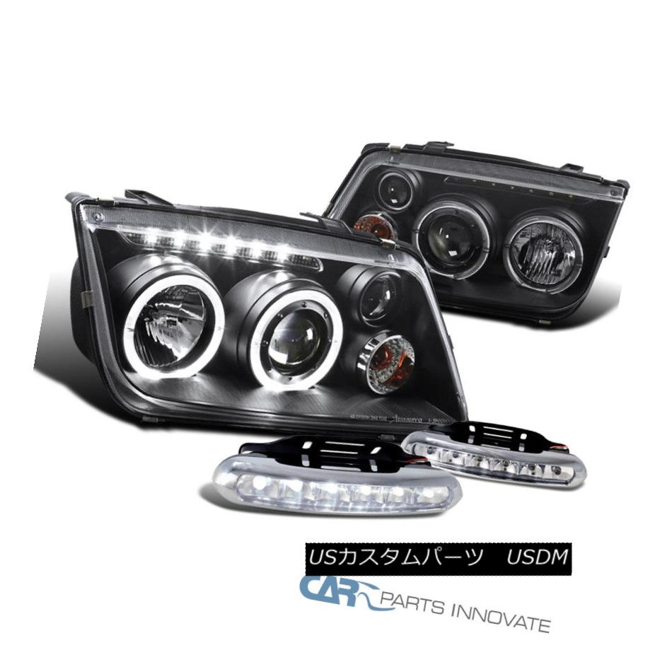 ヘッドライト 99-05 Fit VW Jetta Bora Mk4 Black Halo Projector DRL Headlights+6-LED Fog Lamps 99-05フィットVWジェッタボラMk4ブラックハロープロジェクターDRLヘッドライト+ 6-L  EDフォグランプ
