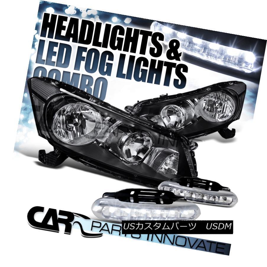 ヘッドライト For Honda 08-12 Accord 4Dr Sedan JDM Black Headlights+6-LED Fog Lamps Left+Right ホンダ用08-12アコード4DrセダンJDMブラックヘッドライト+ 6-L  EDフォグランプ左+右