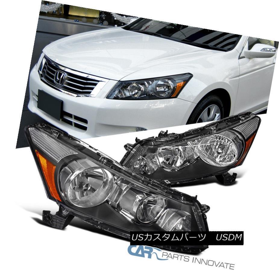 ヘッドライト Fit 08-12 Honda Accord Replacement 4Dr Sedan Black Headlights Headlamps Set Pair フィット08-12ホンダアコード交換4Drセダンブラックヘッドライトヘッドランプセットペア