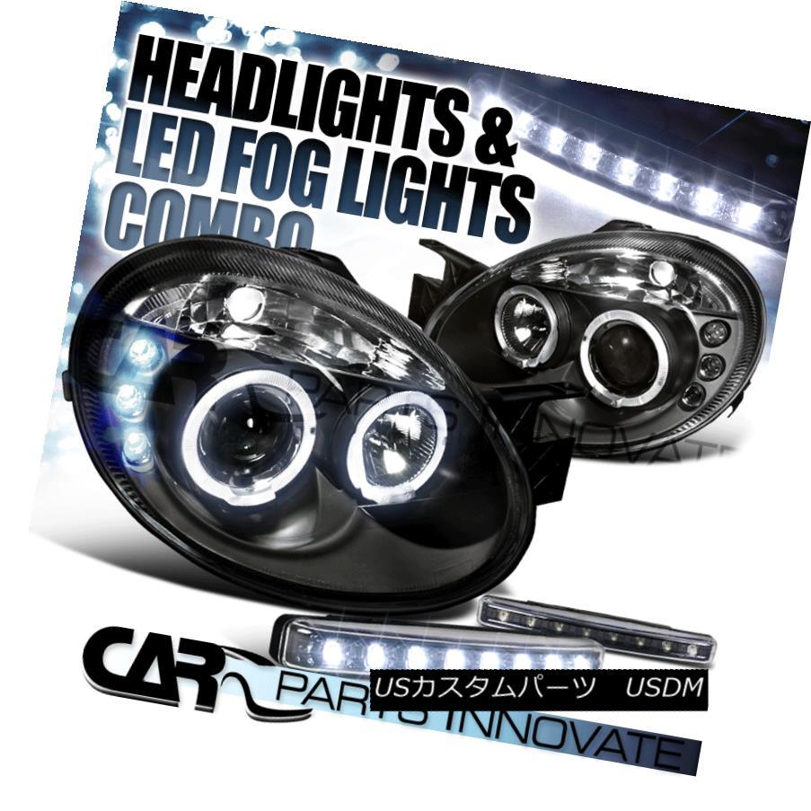 ヘッドライト 2003-2005 Dodge Neon Black Halo Projector Headlights+8-LED Fog Bumper Lamp 2003-2005 Dodge Neon Black Haloプロジェクターヘッドライト+ 8-L  ED Fogバンパーランプ