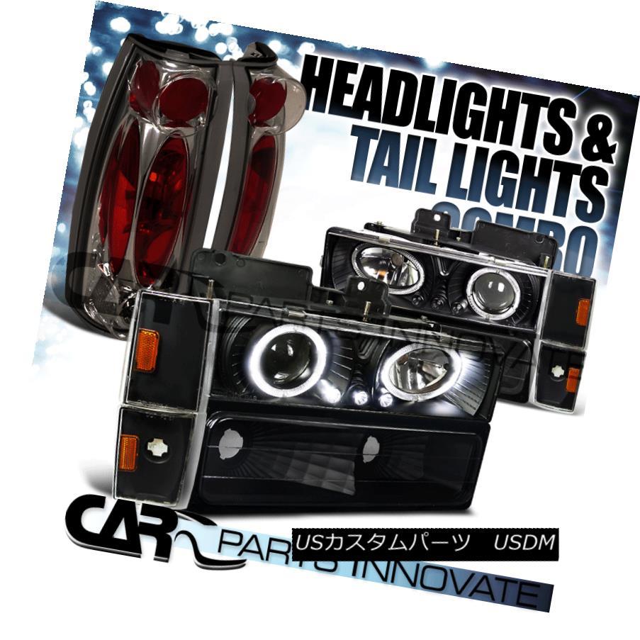 ヘッドライト 1988-1993 C10 C/K Black Projector Headlights+Bumper Corner Lamps+Tail Lights 1988-1993 C10 C / Kブラックプロジェクターヘッドライト+ Bum  /コーナーランプ+テールライト