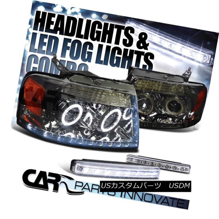 ヘッドライト Ford 04-08 F150 Pick Up Smoke Halo Projector LED Headlights+8-LED Fog Lamps フォード04-08 F150ピックアップスモークハロープロジェクターLEDヘッドライト+ 8-L  EDフォグランプ