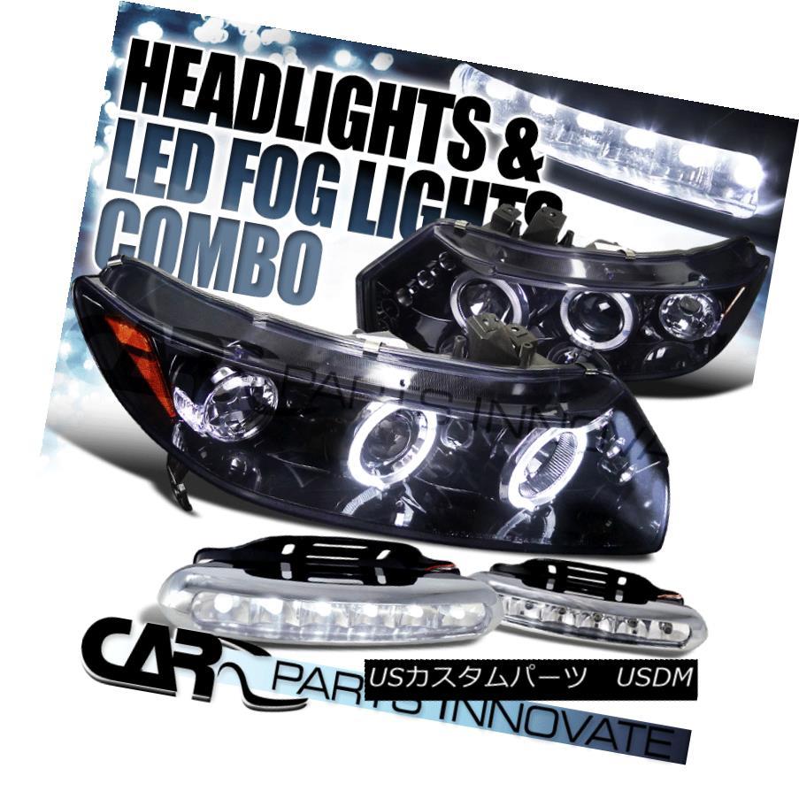 ヘッドライト Glossy Black For 06-11 Civic 2Dr Smoke LED Projector Headlights+6-LED Fog Lamps 光沢ブラック06-11シビック2DrスモークLEDプロジェクターヘッドライト+ 6-L  EDフォグランプ