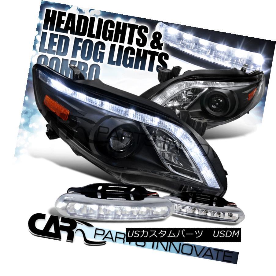 ヘッドライト For 11-13 Toyota Corolla Black LED DRL Projector Headlights+LED Fog Bumper DRL 11-13トヨタカローラ用ブラックLED DRLプロジェクターヘッドライト+ LEDフォグバンパーDRL
