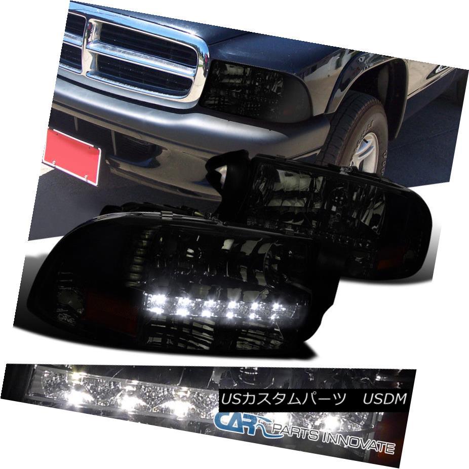 ヘッドライト Dodge 97-04 Dakota 98-03 Durango Chrome Smoke SMD LED Daytime DRL Headlights ドッジ97-04ダコタ98-03デュランゴクロームスモークSMD LEDデイタイムDRLヘッドライト