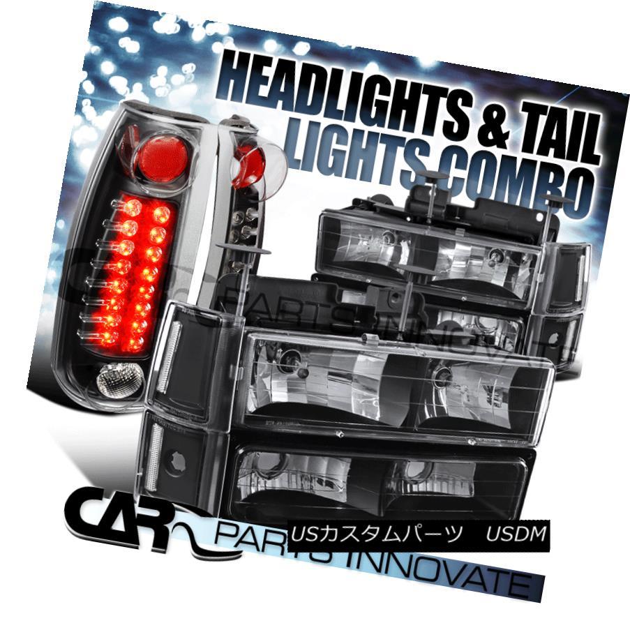 ヘッドライト 94-98 GMC C10 Sierra Black Clear Headlights+Bumper Corner Lamps+LED Tail Lamps 94-98 GMC C10シエラブラッククリアヘッドライト+ Bum  /コーナーランプ+ LEDテールランプ