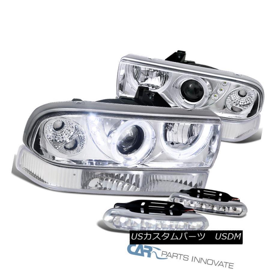 ヘッドライト 98-04 S10 Blazer Chrome Halo Projector Headlights+Bumper Lamps+6-LED Fog Lamps 98-04 S10ブレイザークロームハロープロジェクターヘッドライト+ブラム 、ランプ+ 6-LEDフォグランプ